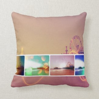 Santa Monica Pier Photo Collage Throw Pillow