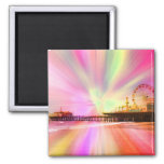 Santa Monica Pier Pink Explosion 2 Inch Square Magnet