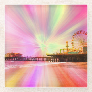 Santa Monica Pier Pink Explosion Glass Coaster