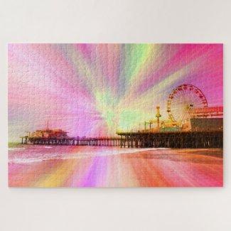 Santa Monica Pier Pink Explosion Jigsaw Puzzle