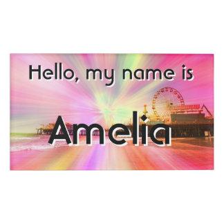 Santa Monica Pier Pink Explosion Name Tag
