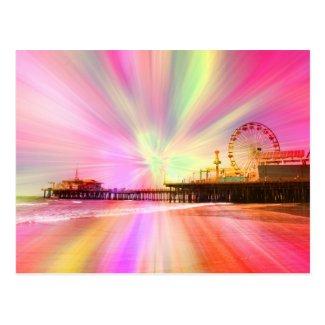 Santa Monica Pier Pink Explosion Postcard