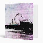 Santa Monica Pier Pink Grunge 3 Ring Binder