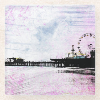 Santa Monica Pier Pink Grunge Glass Coaster