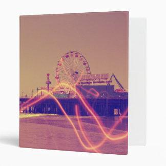 Santa Monica Pier Pink Lightning Edit 3 Ring Binder