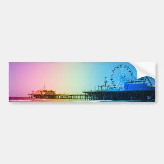 Santa Monica Pier Rainbow Colors Bumper Sticker