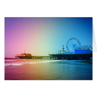 Santa Monica Pier Rainbow Colors Card