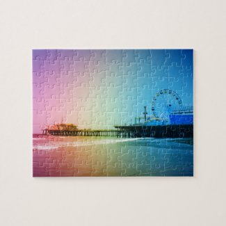 Santa Monica Pier Rainbow Colors Jigsaw Puzzle