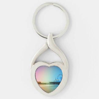 Santa Monica Pier Rainbow Colors Silver-Colored Heart-Shaped Metal Keychain