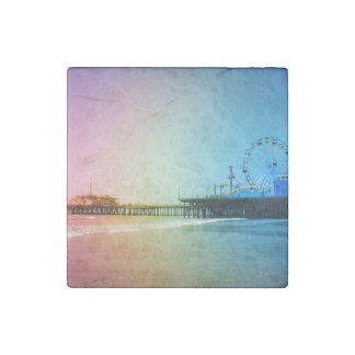 Santa Monica Pier Rainbow Colors Stone Magnet