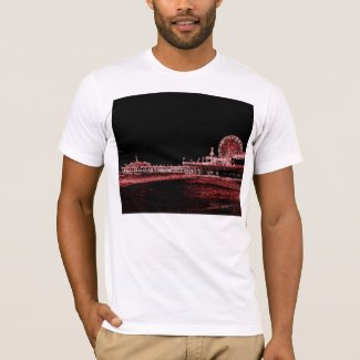 Santa Monica Pier Red Neon Night Photo Edit T-Shirt