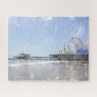 Santa Monica Pier - Shabby Chic Photo Edit Jigsaw Puzzle