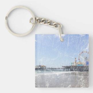 Santa Monica Pier - Shabby Chic Photo Edit Keychain