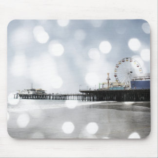 Santa Monica Pier - Silver Grey Sparkles Photo Edi Mouse Pad