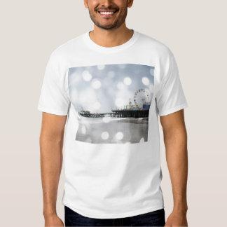 Santa Monica Pier - Silver Grey Sparkles Photo Edi T-shirt