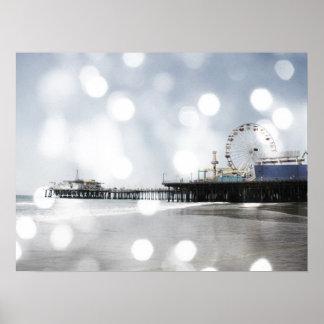 Santa Monica Pier Silver Grey Sparkles Photo Edit Print