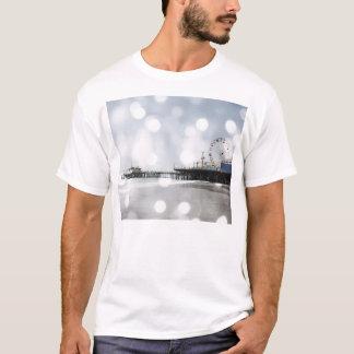 Santa Monica Pier Silver Grey Sparkles Photo Edit T-Shirt