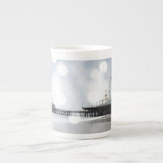 Santa Monica Pier Silver Grey Sparkles Photo Edit Tea Cup