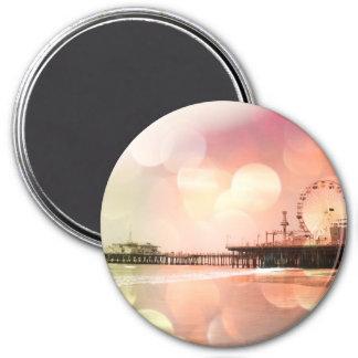 Santa Monica Pier - Sparkling Pink Photo Edit 3 Inch Round Magnet