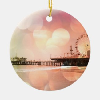 Santa Monica Pier - Sparkling Pink Photo Edit Ceramic Ornament