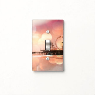 Santa Monica Pier Sparkling Pink Photo Edit Light Switch Cover