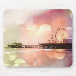 Santa Monica Pier - Sparkling Pink Photo Edit Mouse Pad