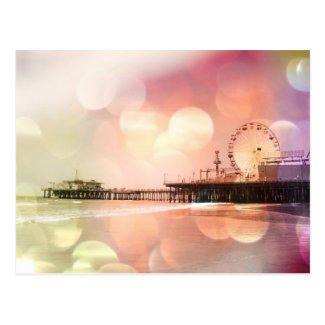 Santa Monica Pier - Sparkling Pink Photo Edit Postcard