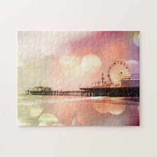 Santa Monica Pier - Sparkling Pink Photo Edit Puzzle