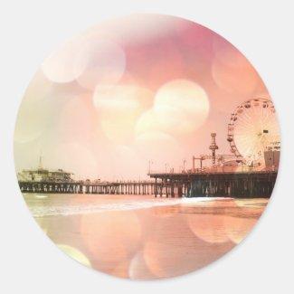 Santa Monica Pier - Sparkling Pink Photo Edit Square Sticker