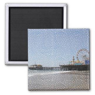 Santa Monica Pier - Stone Mosaic Photo Edit 2 Inch Square Magnet