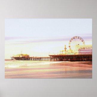 Santa Monica Pier Sunrise Poster