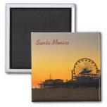Santa Monica Pier Sunset 2 Inch Square Magnet