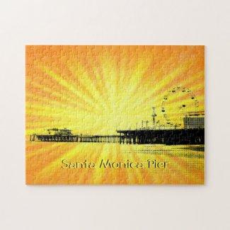 Santa Monica Pier Yellow Sunburst Jigsaw Puzzle
