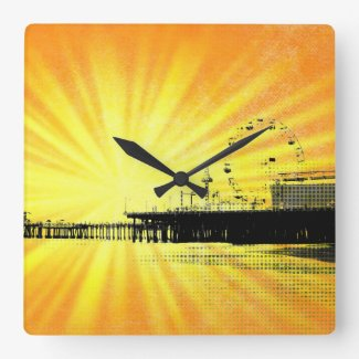 Santa Monica Pier Yellow Sunburst Square Wall Clock
