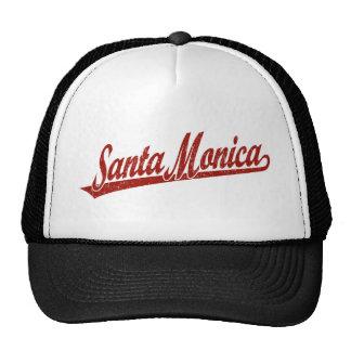 Santa Monica script logo in red distressed Trucker Hat