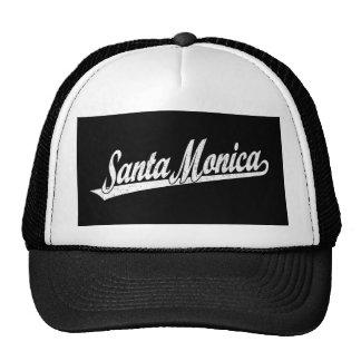 Santa Monica script logo in white distressed Trucker Hat