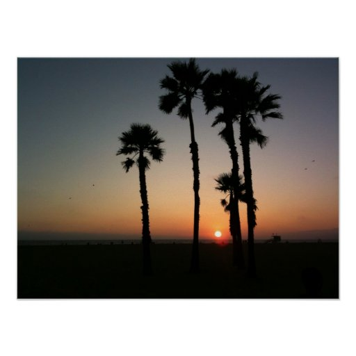 Santa Monica Sunset Poster