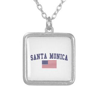 Santa Monica US Flag Square Pendant Necklace