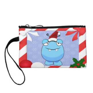 Santa Monster in Holiday Frame Coin Wallets