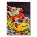 Santa monta otra vez - la tarjeta del arte del esp