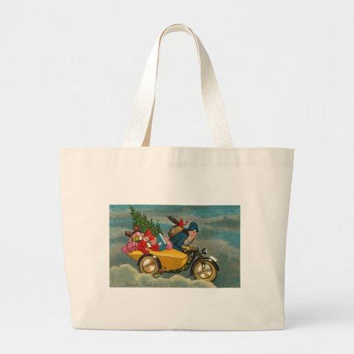 Santa monta una motocicleta - navidad bolsa