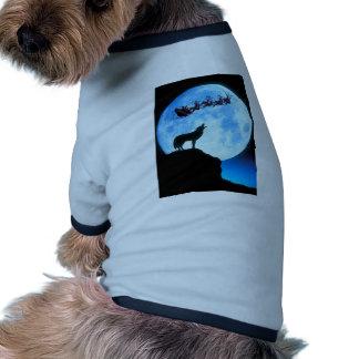 Santa Moon and Wolf Dog Tshirt