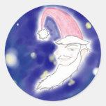 Santa Moon Christmas Art Sticker