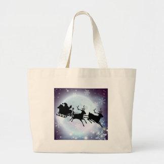 Santa moon sleigh silhouette canvas bags