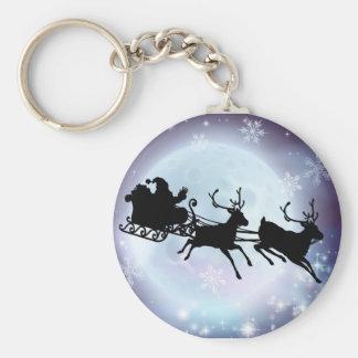 Santa moon sleigh silhouette key chain