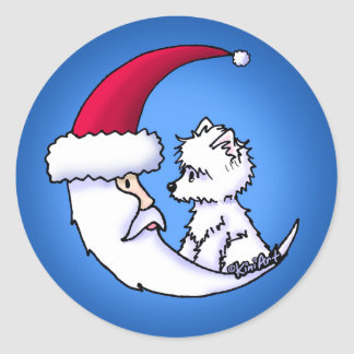 Santa Moon Westie Christmas Stickers