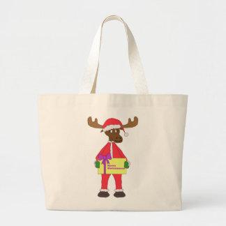 Santa Moose Large Tote Bag