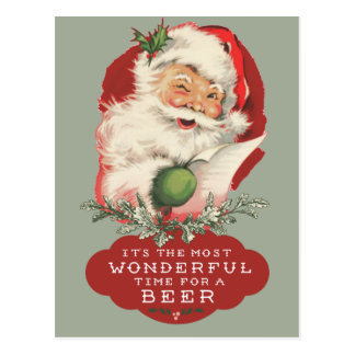 Santa Most Wonderful Time For A Beer Christmas Postcard