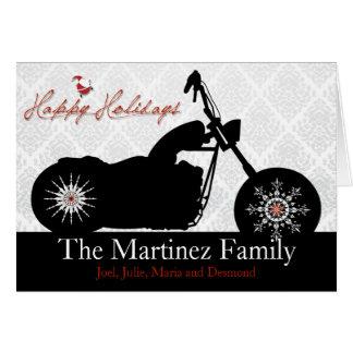 Santa Motorcycle and Snowflakes Holiday Card