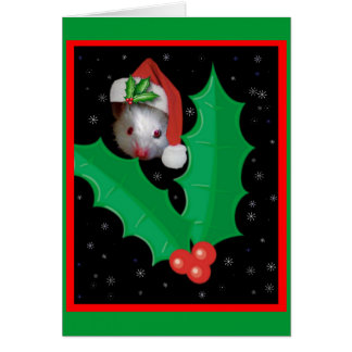 Santa mouse and holly card